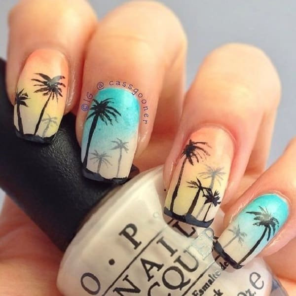 pastel color palm tree nail design