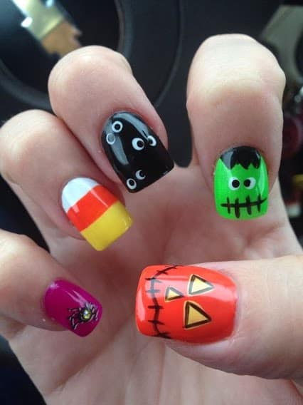 colorful Halloween nail art