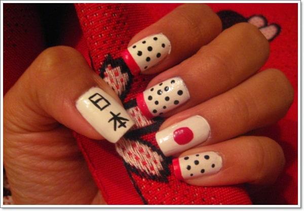 Japanese flag nail art