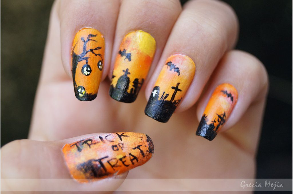 jack o lantern Halloween nail