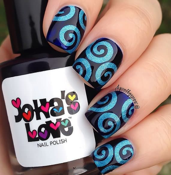 How to do swirl nail art 10 easiest designs to inspire if you are searching for easy swirl nail designs this is a good choice for you paint your nails with dark blue color then draw some easy swirl patterns on prinsesfo Images