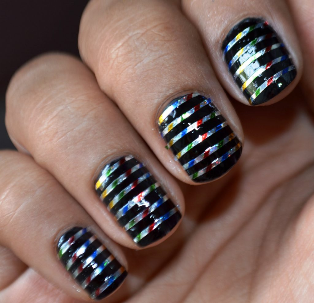 Shiny Silver striping tape nail art