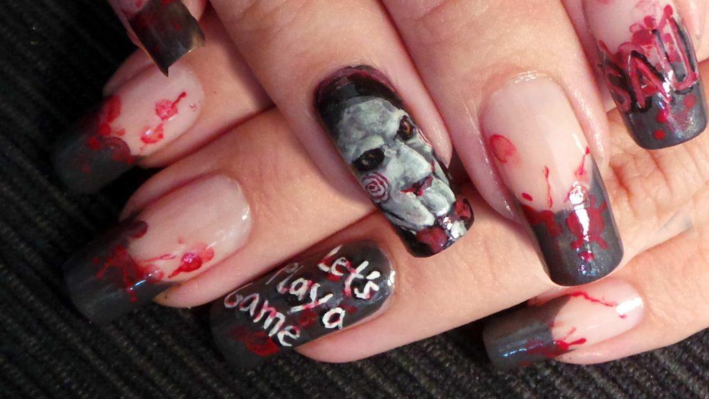 black tip Halloween nail art