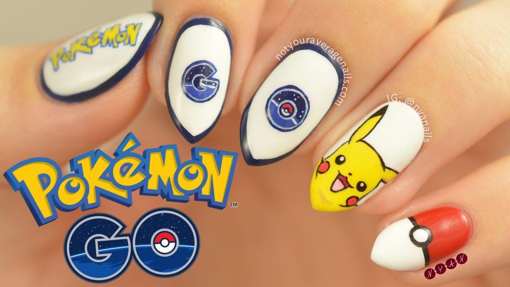 pokemon and pikacho nail art