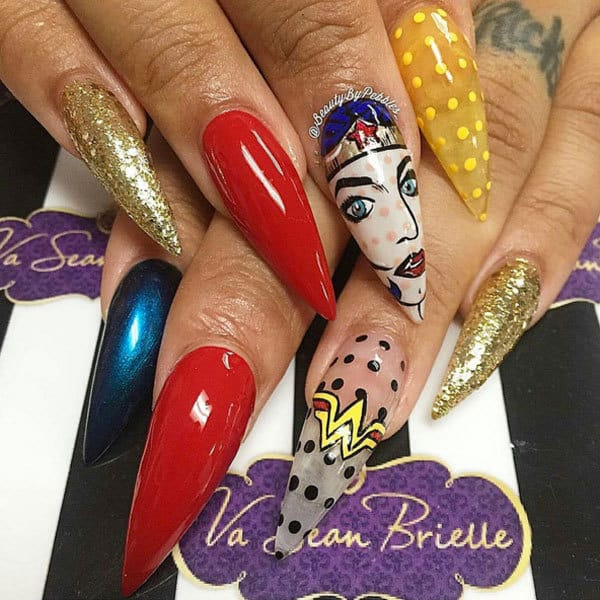wonder women stiletto nail
