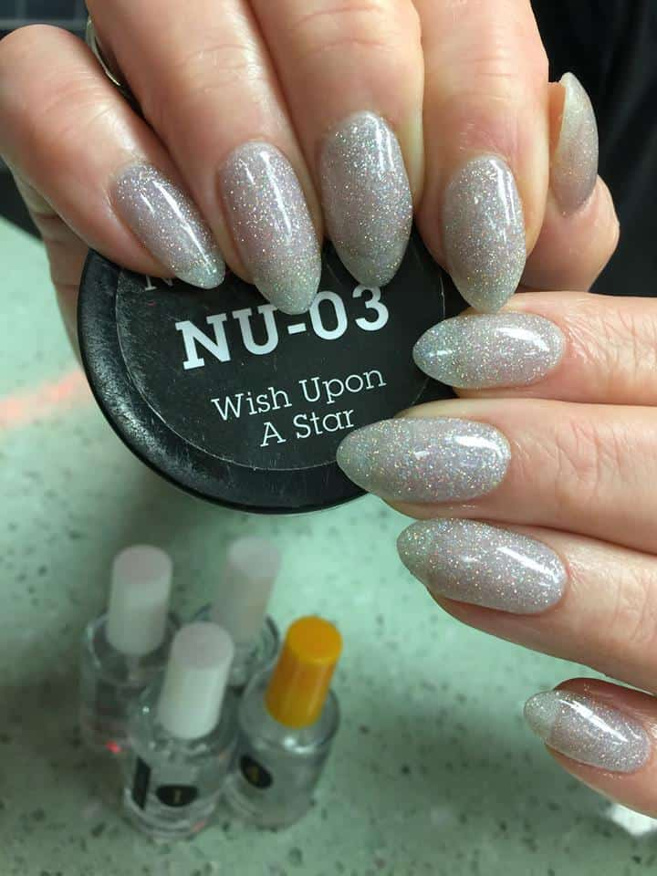 silver glitter powder dip nail