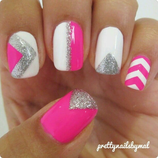 Different angel chevron design nail