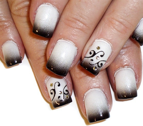 Another swirl nail art is like this one. The swirl seems to be a flowery  design in this nail art. A thin nail brush can do the trick while designing  swirl ... - How To Do Swirl Nail Art: 10 Easiest Designs To Inspire