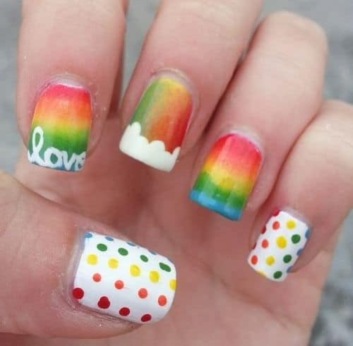 20 vibrant rainbow nail designs to celebrate life if you are full of love but cant express it by your words here is an easy solution to your problem paint your nails with rainbow colors and inscribe the prinsesfo Choice Image