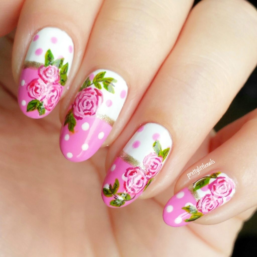 rosy pink rose nail art