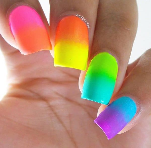 rainbow ombre nail design
