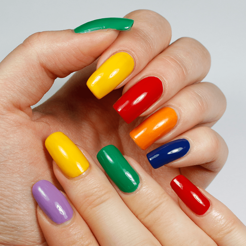 rainbow colors in different nail