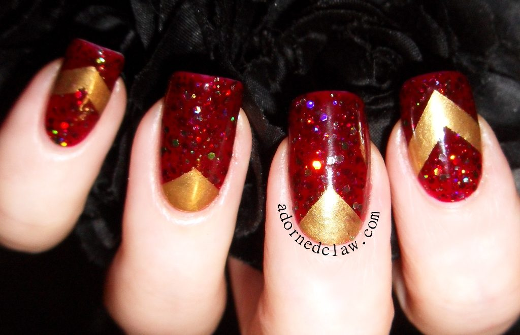 red and gold chevron nail