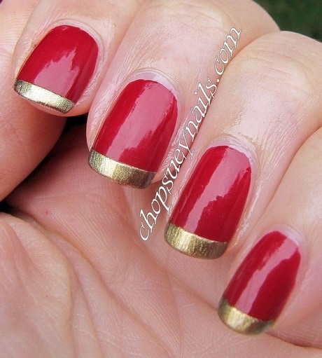 15 royal red and gold nail designs to stun the audience golden tips red nails prinsesfo Choice Image