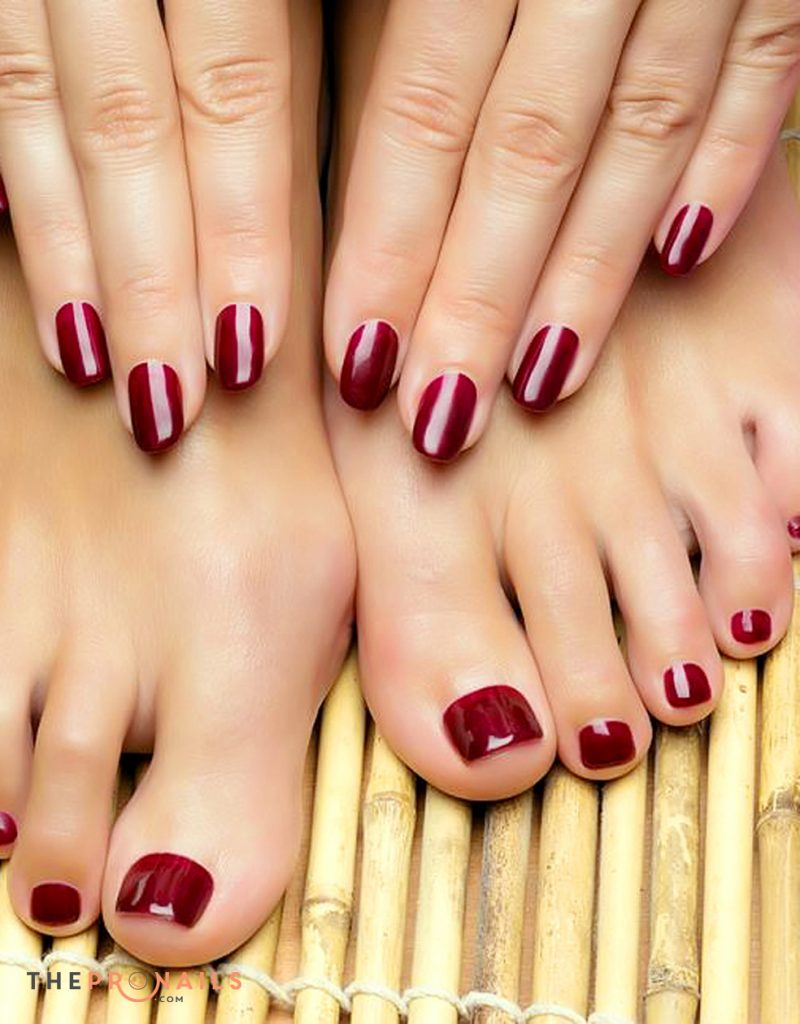 Crimson Sash shellac pedicure