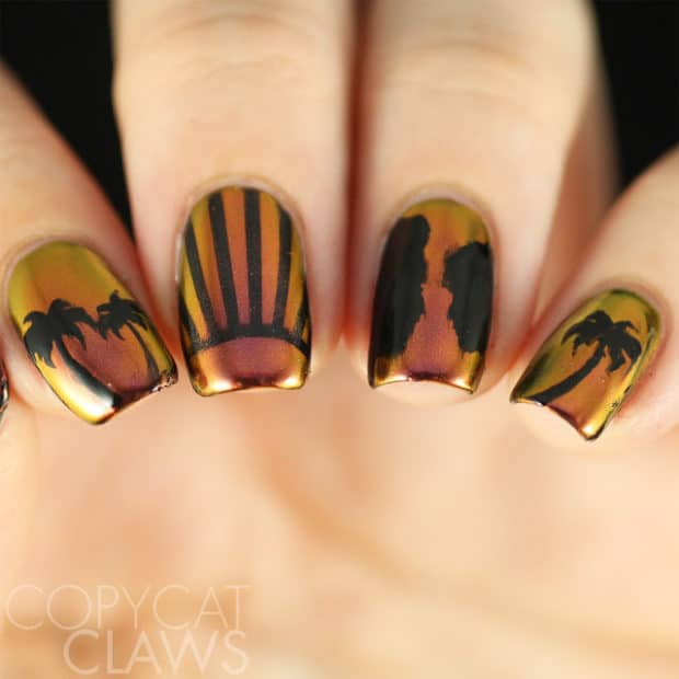 black and gold vacation nail