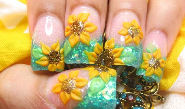 3d sunflower nail art design