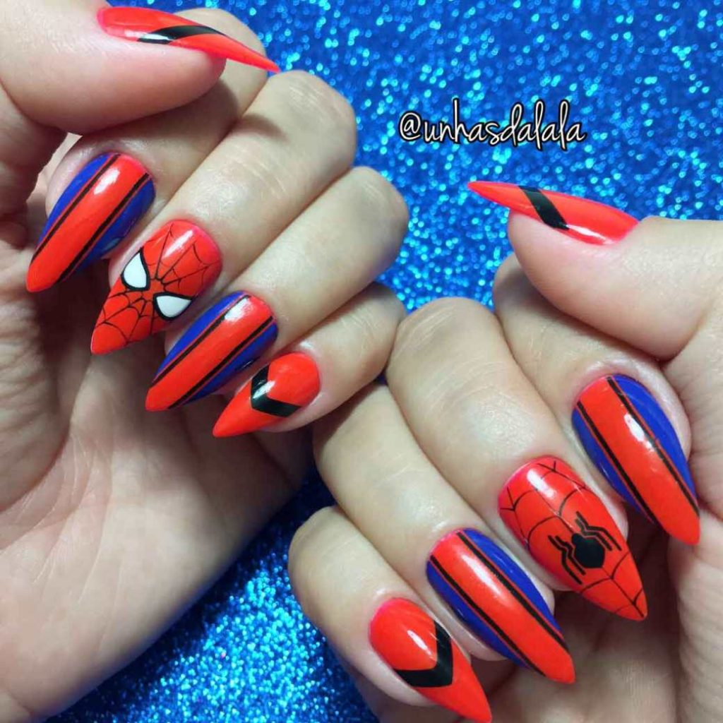 spiderman nail designs