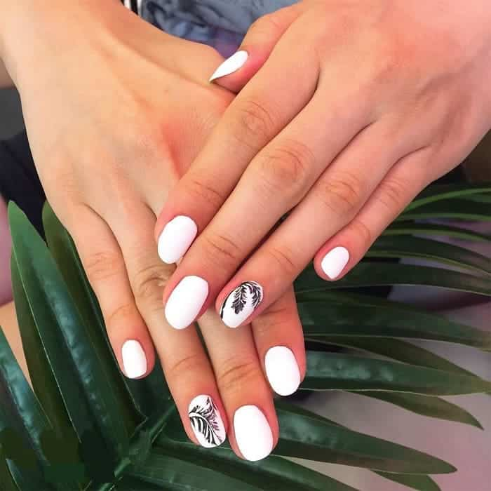 white palm tree nails