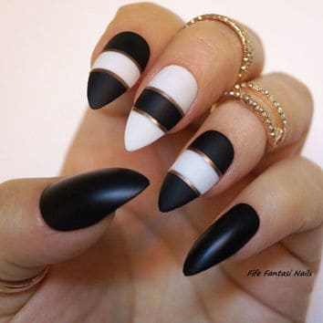black and white striping tape nail