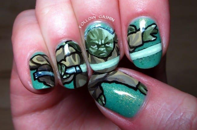 Yoda is the master trainer of Jedi. He trained Jedi for more than 800  years. You can paint his image on your teal nails for ultimate star wars  nail designs. - 20 Star Wars Nails To Show Love For The Trilogy – NailDesignCode