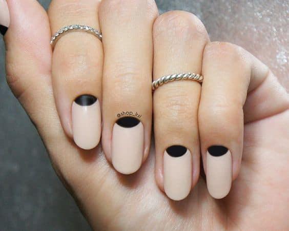 Half moon nude nails