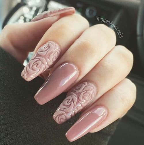matte 3d rose nail art - 15 Rose Nail Art To Adorn Your Pretty Nail – NailDesignCode
