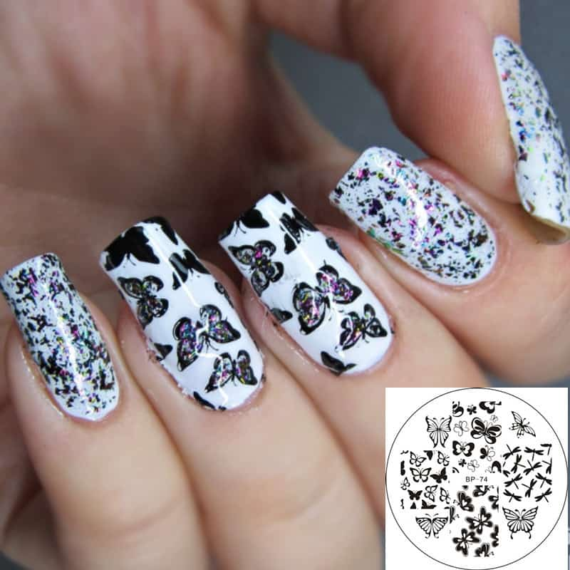 Butterflies in white base Nail stamp