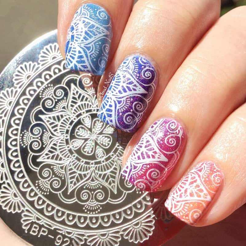 Lace & Flowers Stamped Nails