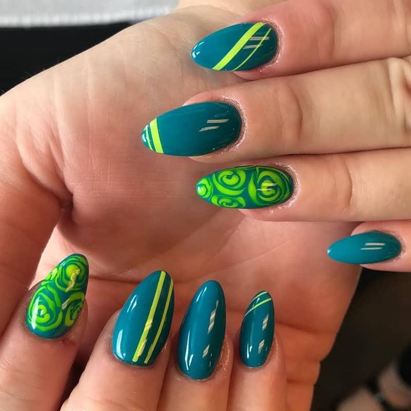 green rose nail art
