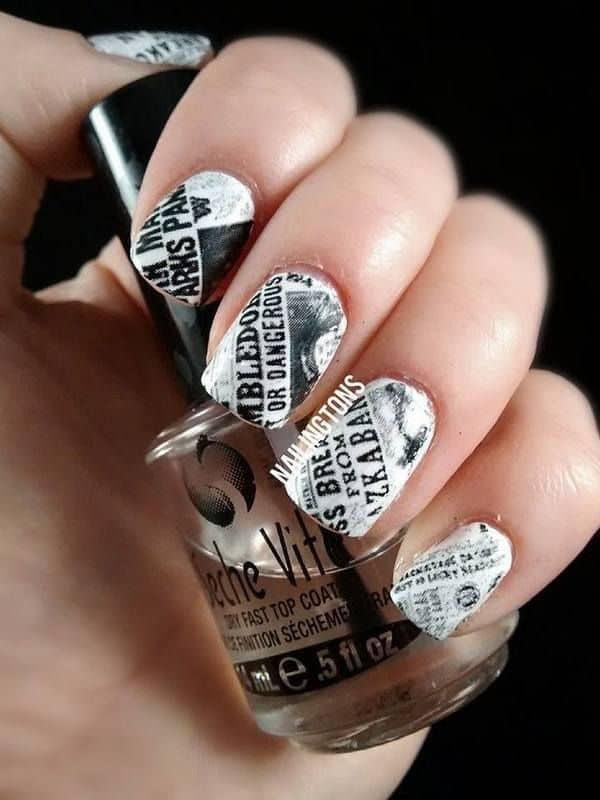 harry potter newspaper nail art