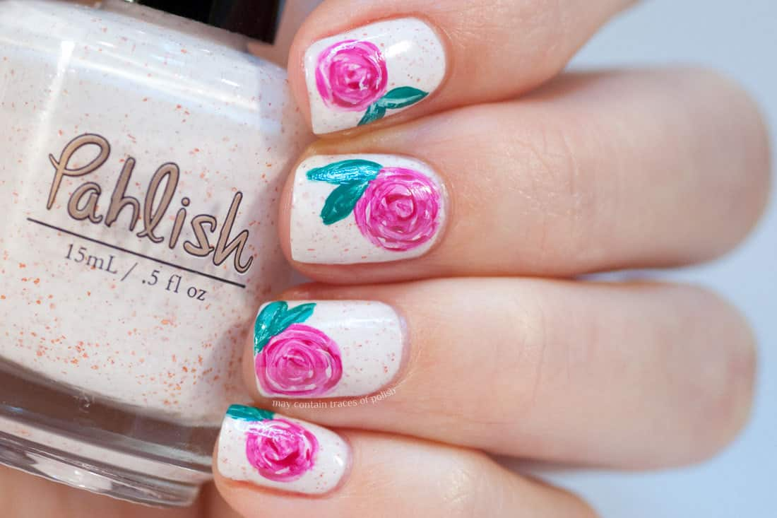 Simple rose nail art