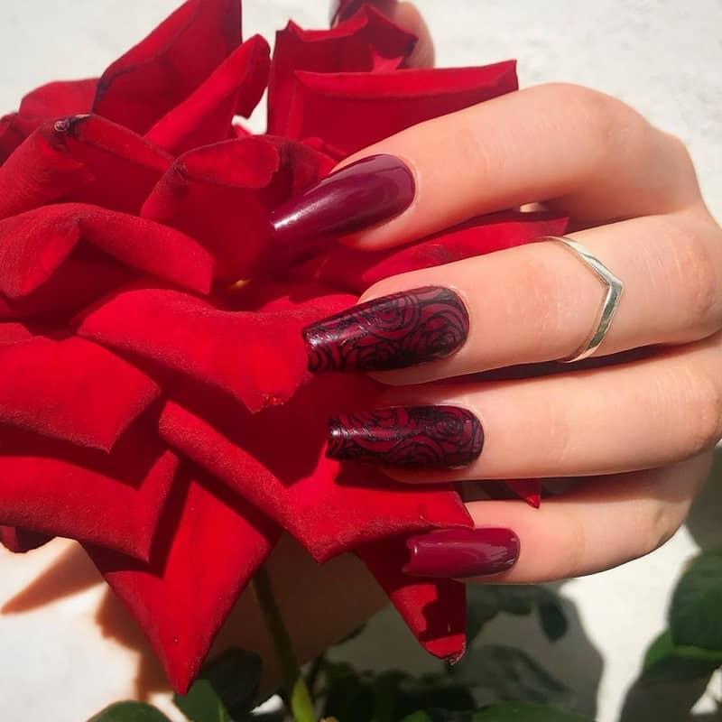 roses valentine nail art
