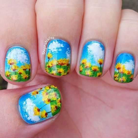 nail art designs sunflowers