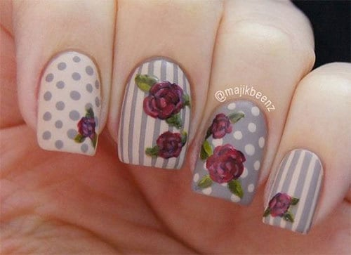 polka dot vintage rose nail art