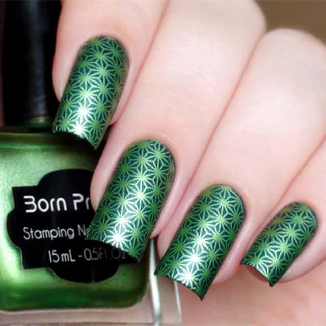 Nails with Green Shimmering Stamp