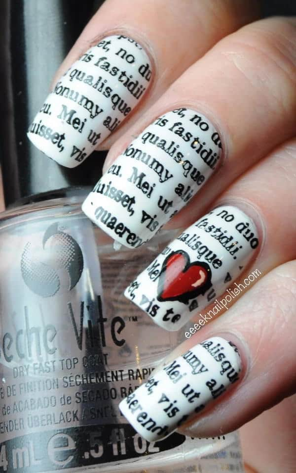 Newspaper Nail Art with heart