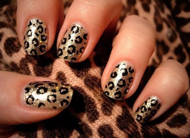 Animal printed two tone nails