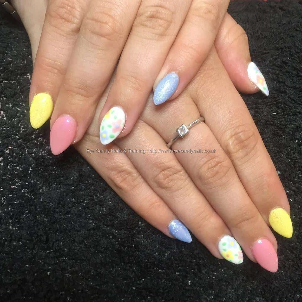 Pastel Color Oval shaped Nails