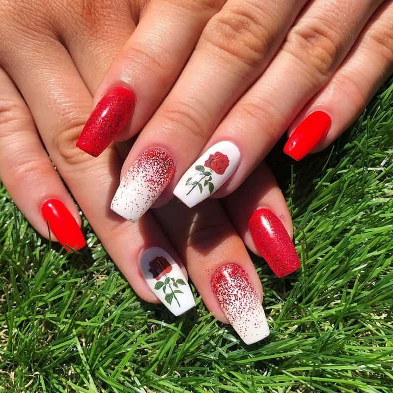 rose gel nail art