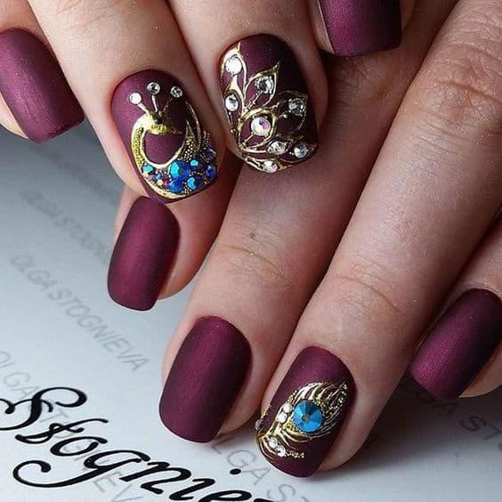 Maroon Peacock Nail Art