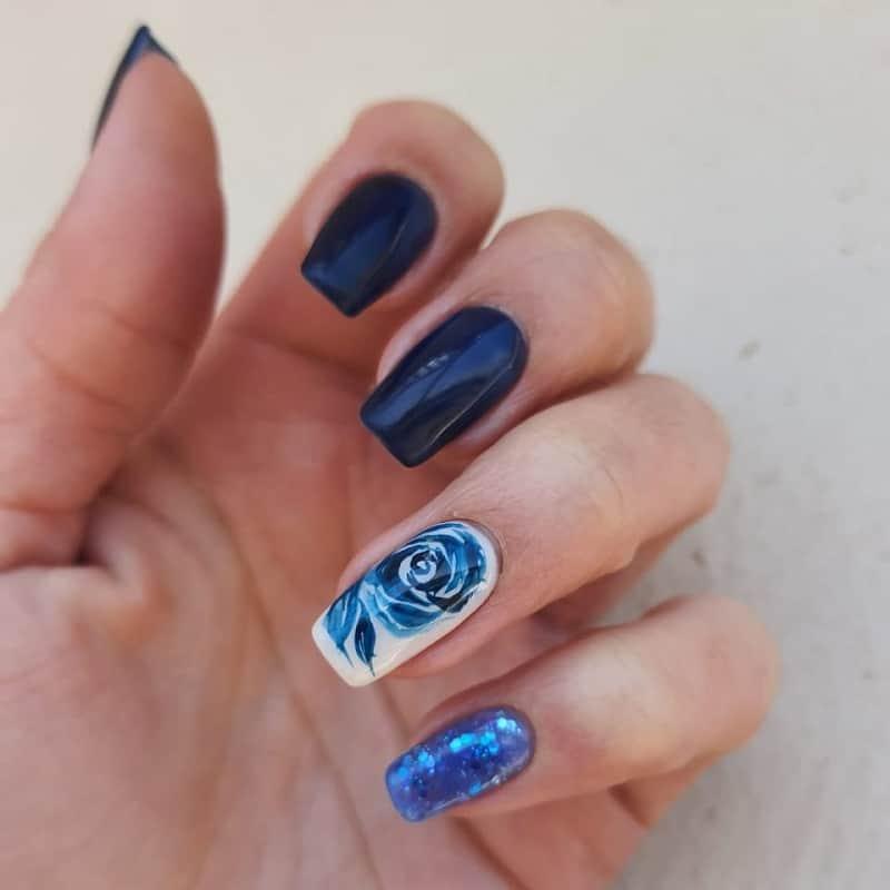 one stroke rose nail art