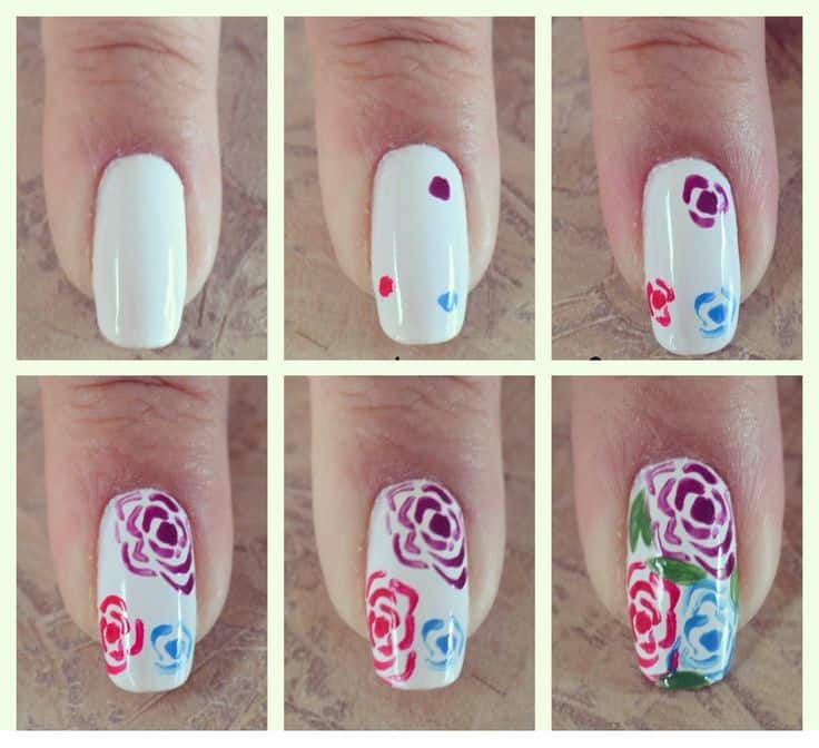 nail art roses step by step