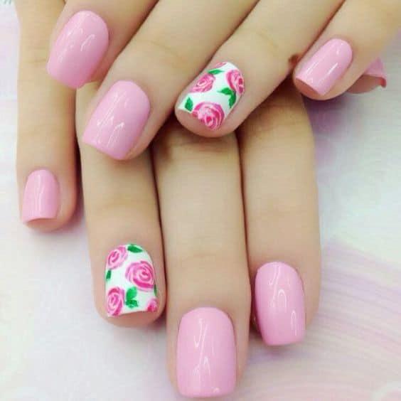 Short baby pink nails