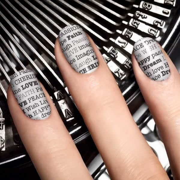 Newspaper Nail Art without Newspaper