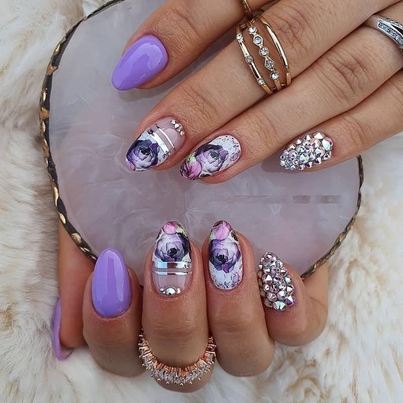 lavender rose nail art