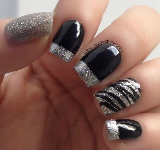 Two tone nails in Black & Silver contrast