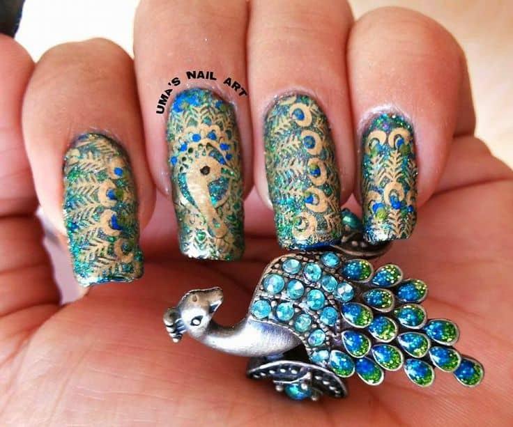 peacock nail art idea