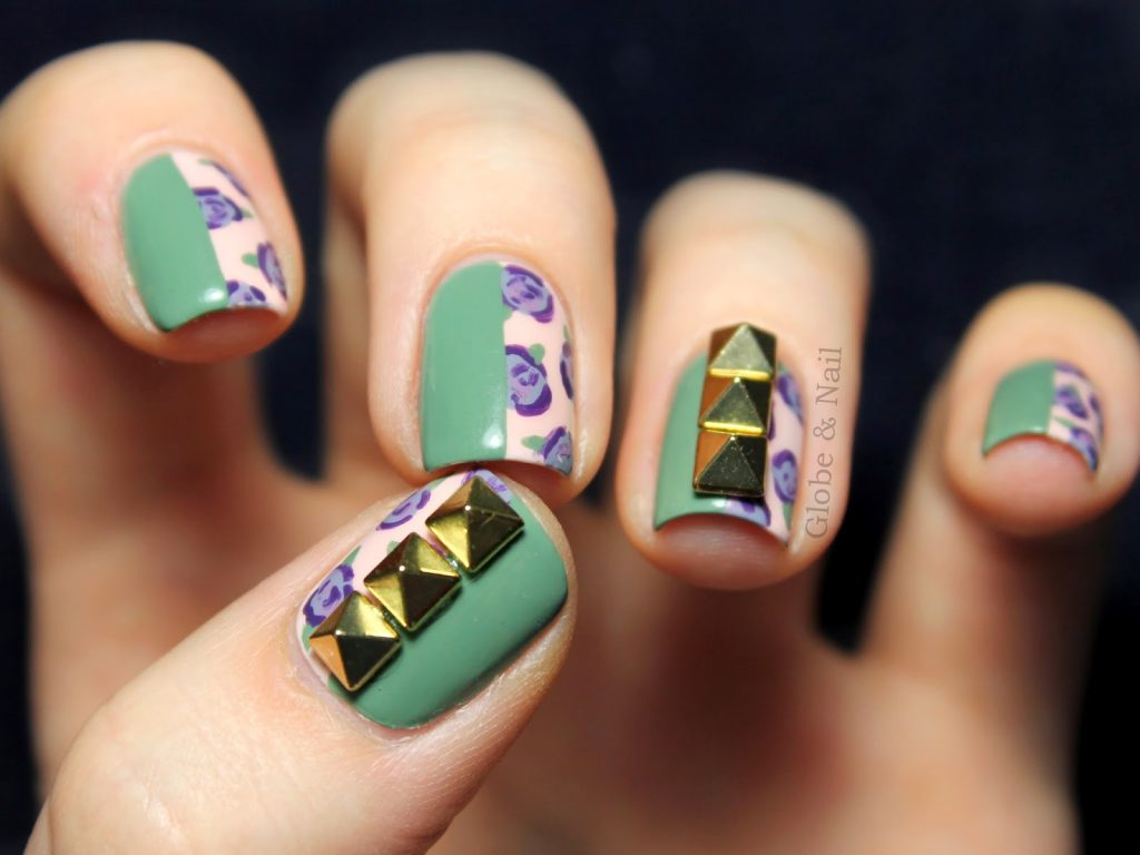 floral studded nails