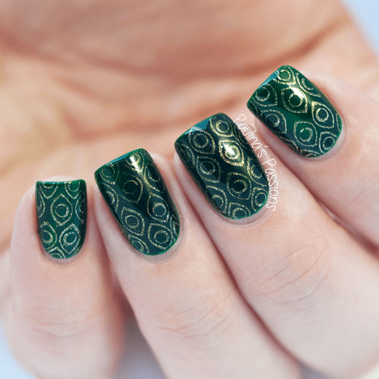 Stamping with Peacock feathers design